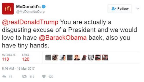mcdonalds anti-trump tweet hack