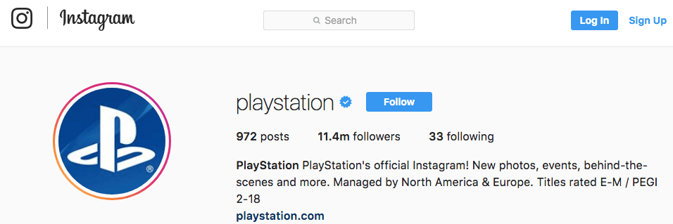 social media branding example instagram playstation