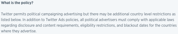 twitter ads transparency center political ads policy